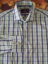 HAWES & CURTIS London Men's Lime/Black Check L/S Casual Shirt Large Slim Cotton