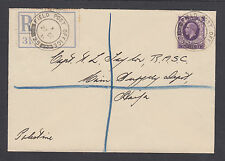 Great Britain SG 444, 1938 Registered Field Post Office 25 cover, Haifa local