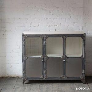 Kommode Büffet BROOKLYN Weiß Industrial Metall Holz Sideboard :2- oder 3-türig