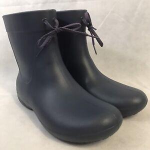 Crocs Dual Comfort Women's 11 Navy Blue Low Rubber Ankle Rain Boots Winter