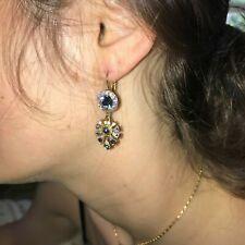 MARIANA  SWAROVSKI CRYSTAL EARING GOLD PL MOOD INDIGO BLUE OPAL WHITE OPAL