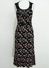 Ladies Oasis black floral ruffle hem midi dress size 10 sleeveless lace trim