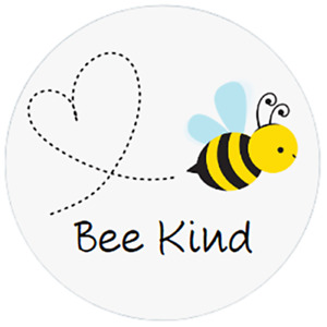 48 Personalised BEE KIND Stickers Labels 40mm