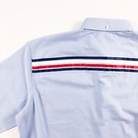 TOMMY HILFIGER Shirt Men's Lightweight Oxford Blue Regular Fit Logo Tape Print