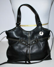 The Sak Black Leather Shoulder Bag Satchel Purse Easy Carry Lightweight