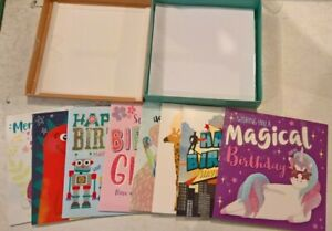 box of 8 assorted children birthday cards for  male and female + envelopes