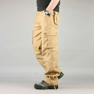 Men's Tactical Cargo Army Work Trousers Combat Outdoor Pocket Pants Plus Size