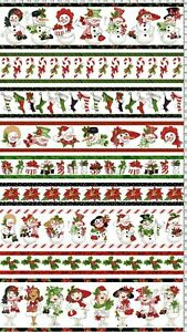 Loralie Designs White Snow Lady Borders Cotton Fabric 692-402 BTY