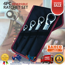 Bahco Ratchet Spanners 4 Piece Reversible Wrenches Socket Nut Work Shop Tool Set