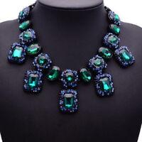 Grün Glas Strass Statementkette Halskette Collier Kette Glamour schwarz neu edel
