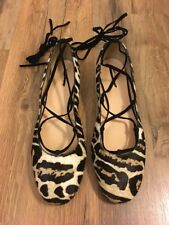 New J Crew Collection Lace-up Flats in Leopard Calf Hair Sz 9.5 F8474