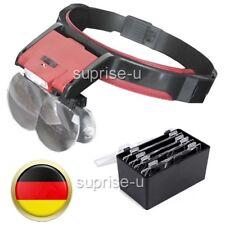 LED Kopflupe Stirnlupe Lupenbrille Brillenlupe Leuchtlupe Lupenleuchte+ 4 Linsen