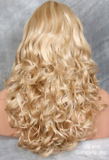 Long Wavy Curly Butterscotch N Pale blonde Mix w. full bangs JSCA 24-613