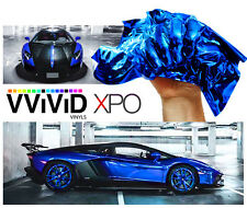 Vvivid 1ft x 5ft SuperCast Chrome Blue vinyl vehicle wrapping decal