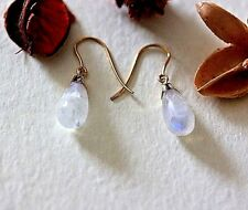 very unusual Solid 9 carat gold drop earrings, moonstone blue flash tear drops,