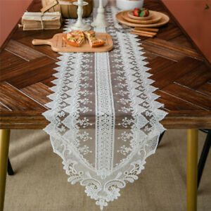 White Lace Flower Table Runner Wedding Party Tablecloth Dinning Xmas Home Decor