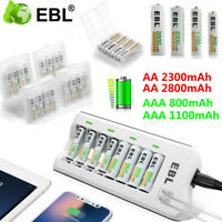 Lot AAA AA Ni-MH Rechargeable Battery + 8 Slot Smart Charger With Dual USB Port