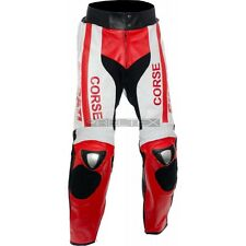 """DUKE Corse Red White Armoured Motorcycle Trouser Leather PANTS 2XL Waist 40"""" Reg"""