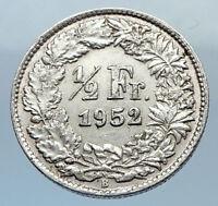 1952 SWITZERLAND SILVER 1/2 Francs Coin HELVETIA Symbolizes SWISS Nation i71945