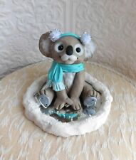 Koala Ice Skating Sculpture koala lover Gift Clay Mini by Raquel at theWRC