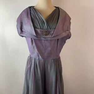 Vintage Gaile Modes 1960s Medium? Purple Chiffon Brooch Cocktail Party Dress