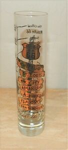 """Huge 7"""" Super Shooter Route 66 Shot Glass GOLD City Road Signs Cowboy W/Ratings"""