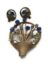 Sterling Gold Vermeil Blue Rhinestone Brooch Earring Set Demi Parure