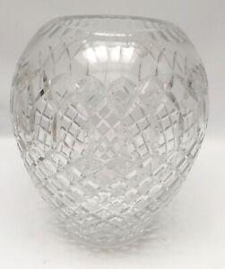 "Large Diamond Cut Crystal Vase Statement Centerpiece 10.5"""