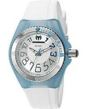 TechnoMarine Cruise White Silicone Band Blue Cover Ladies Watch TM-115224