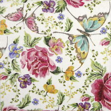 4x Paper Napkins  for Party, Decoupage  Embroidery Flowers and butterflies
