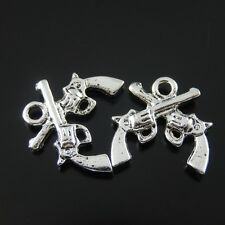 **07663 Antiqued Silver Vintage Alloy Look Double Guns Pendant Charms 6PCS