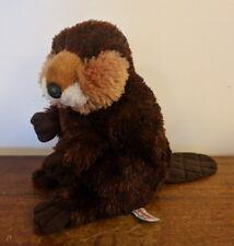 "Aurora Flopsies Beaver Plush Brown 8"" Tall EUC"