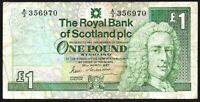 1987 ROYAL BANK OF SCOTLAND PLC £1 BANKNOTE * A/3 356970 * aF *