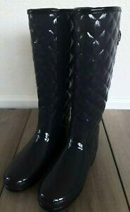 New Hunter Original Refined High Gloss Quilted Waterproof Rain Boot Blue Sz 5