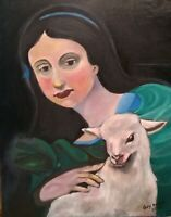 """""""Girl and Lamb"""" Sheep; OIL ON CANVAS PORTRAIT by artist Guy Foster"""
