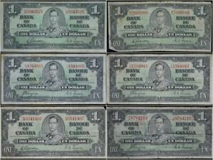 $1 1937 Bank of Canada Set of 6 Notes No Reserve Auction 99C Opening Bid