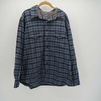 Old Navy Gray Black Long Sleeve Button Front Flannel Plaid Pocket Shirt Mens XL