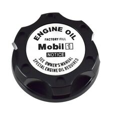 V2 Black Engine Oil Filler Cap Silver Mobil 1 Notice Emblem Fits Nissan Infiniti