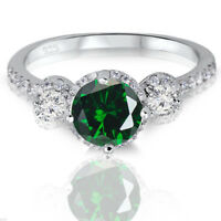 Brilliant Simulated Green Emerald 3 Halo Sterling Silver Engagement Ring 2.17 Ct