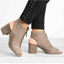 Women Block Heels Faux Suede Casual Sandals Peep Toe Zipper Work Formal OL Shoes