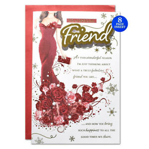SPECIAL FRIEND CHRISTMAS CARD ~ 8 PAGE VERSE MODERN DESIGN  ~QUALITY CARD