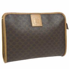 Authentic CELINE Macadam Logos Pouch Clutch Hand Bag Brown PVC Leather AK33066