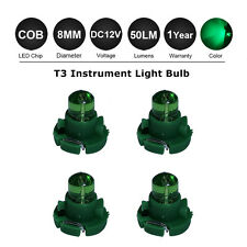 4x Green T3 Neo Wedge LED COB 12V Twist lock Switch Dashboard Gauge Light Bulbs