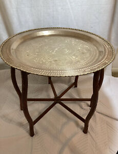 Vintage Asian Brass Tray Table With Hand Carved Wooden Base Mid-Century