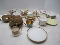 ANTIQUE VINTAGE BONE CHINA AND MISC. 23 PIECES TEA CUPS AND TEA CUP PLATES