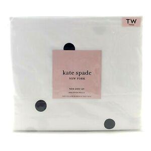 Kate Spade Twin Sheet Set Deco Dot Black Large Polka Dots Cotton Percale New