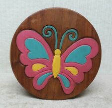 """HAND CARVED and HAND PAINTED - 10"""" WOODEN STEP STOOL / SEAT - BUTTERFLY Design"""