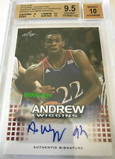 2014 LEAF NATIONAL ROOKIE RC AUTO: ANDREW WIGGINS #AWA02 BGS 9.5 AUTOGRAPH 10