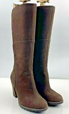 """Timberland ladies knee high tall boots size 6 39 Brown leather 3"""" heel"""