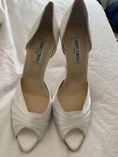 Jimmy Choo White Satin Bridal Heels 40
